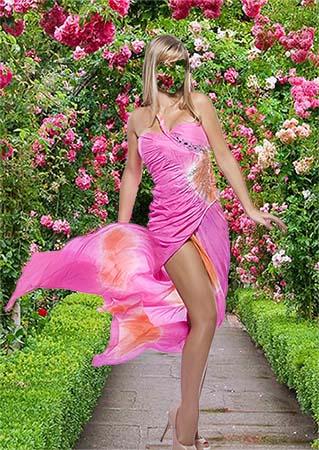 Женский фотошаблон - В розовом платье