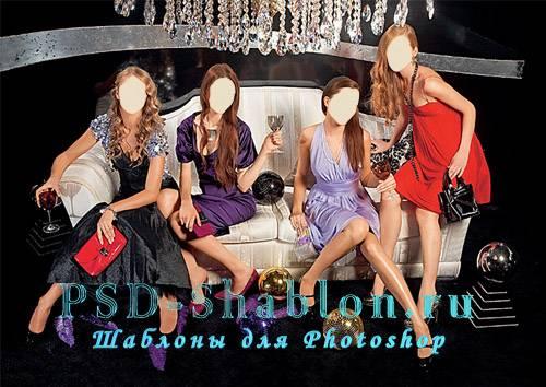 Шаблон для Photoshop четыре гламурные девицы