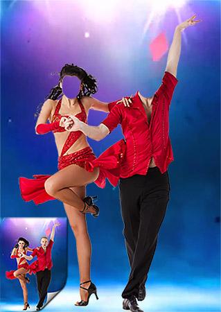 Спортивный танец - Парный фотошаблон