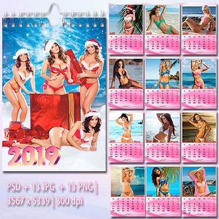 Девушки в бикини - Настенный перекидной календарь на 2019 год