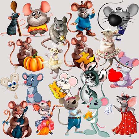 Растровый клипарт - Мультяшные крысы и мыши